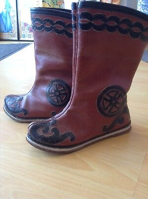 Vintage Mongolian / Chinese Leather Boots Ethnic Costume Asian Shoes Wearable