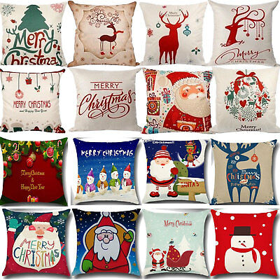 Xmas Cotton Pillow Case Linen Cushion Cover Merry Christmas Home Decoration Gift