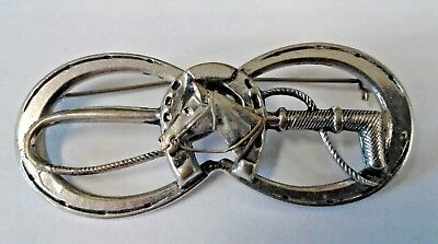 Vintage Double Horseshoe pin with horse head set in horseshoe and riding crop