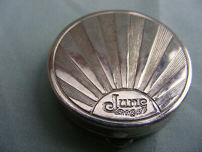 "Early1930s Small Art Deco Compact for ""June"" by Saville, Sunburst Motif, VGC"