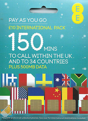 EE International Pay As You Go SIM card PAYG Nano Micro Standard Triple Cut UK