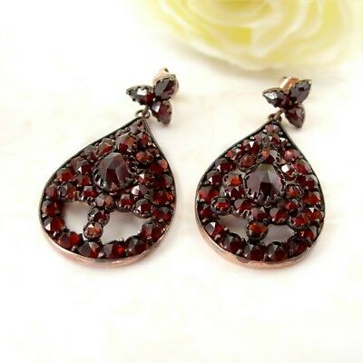 Vintage garnet earrings w/14ct gold studs in Victorian style // ГРАНАТ 7LAN
