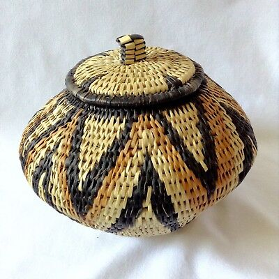 Handwoven Traditional Zulu Basket with Lid from South Africa
