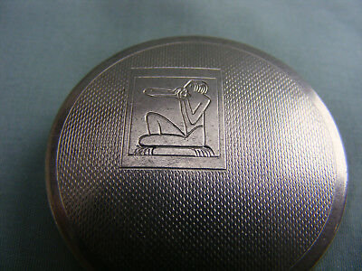 Early1930s Small Art Deco Compact for Bourjois, Egyptian Motif, No Mirror. Good.