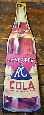 Royal Crown RC Cola Soda Pop Bottle Shaped General Store Advertising Paper Sign