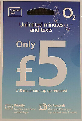 O2 Sim Card Pay As You Go Unlmtd Minutes & SMS 3in1 Micro Nano PAYG 02 2G 4G UK