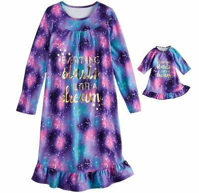 Girl 4-14 and Doll Matching Galaxy Nightgown Clothes fit American Girl Dollie Me