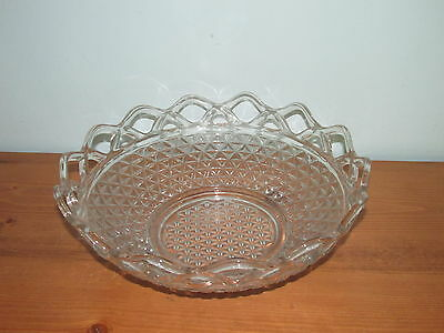 Vintage Large Imperial Glass Bowl diamond pattern with Open Laced Edge (J)