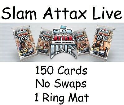 Topps WWE Slam Attax Live cards. 150 cards + 1 Mat  all Mint condition NO SWAPS