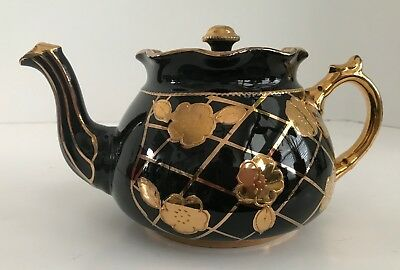 Vintage Arthur Wood Black Teapot with Gold Flowers, Handle and Highlights