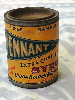 Vintage Pennant Syrup Cardboard Tin Can Sample Union Starch & Refining Co