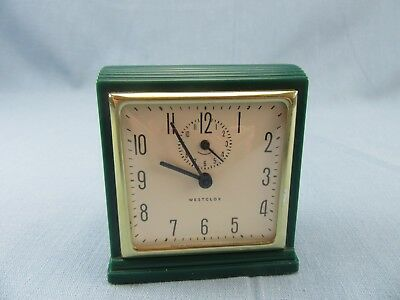 Vintage Westclox Art Deco Green Mascot Plastic Alarm Clock Wind Up