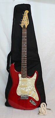 Vintage Lotus Strat Style Electric Guitar - Red - With Case