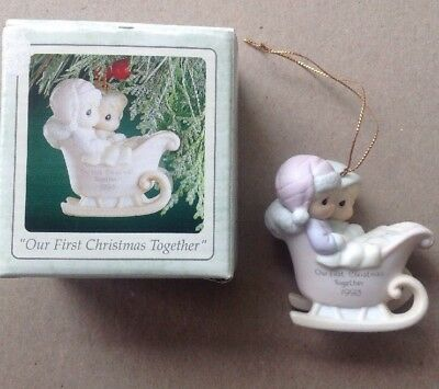 1993 Precious Moments Our First Christmas Together Ornament Sled Enesco