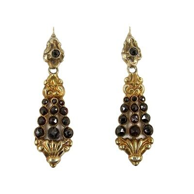 Antique Bohemian garnet earrings Edwardian style // ГРАНАТ
