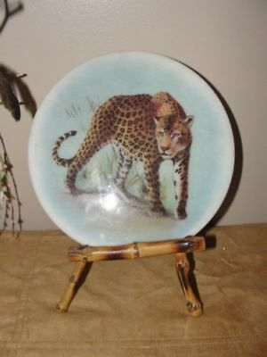 """cheetah"" Decorate Wall Art Plate ""breakable"" With Bamboo Style Stand"