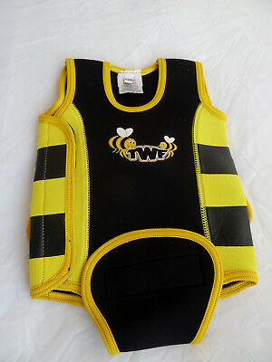 TWF Neoprene Baby Wrap Wetsuit Swim suit Bee Yellow with wings - 6-12 months