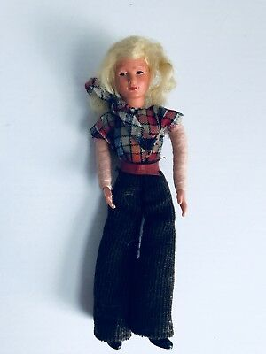 "VINTAGE German Caco Dollhouse Doll Mother Woman 4"" In Plaid Blouse Antique"