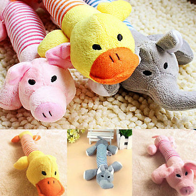 Pet Puppy Chew Squeaker Squeaky Plush Sound Pig Elephant Duck Ball Dog Toys Tool