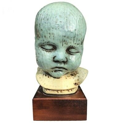 Antique Medical Bust - Hand Carved Infant -Early Vintage 20th Century Americana
