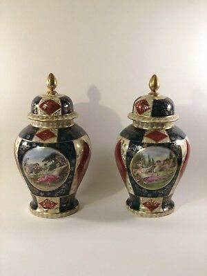 """Pair Multicolored Continental Portrait Urns / Vases w/ Lids - 9"""" Tall"""
