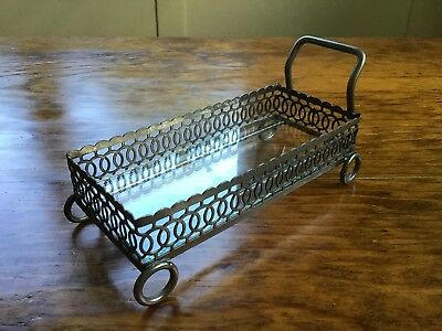 Victorian Silver plate? Reticulated Butter Cart Tray Dish Made England w/ glass