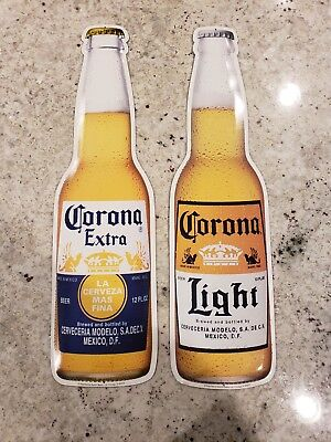 "Corona Extra and Corona Light Beer Bottle Tin Signs 22"" x 5.5"""