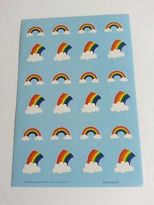 Sheet of 24 RAINBOW CLOUD Labels Stickers Seals - 2 Designs - Mailing from U.S.