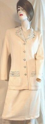 St. John Evening Marie Gray Santana Knit suit Ivory blazer Skirt Size 6