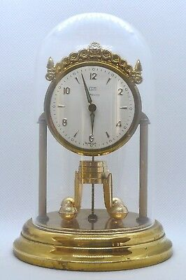 Vintage glass dome mantle clock. Germany. Small size. Running.