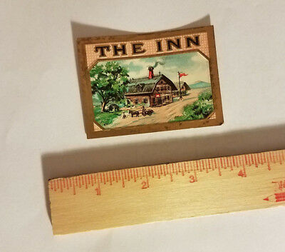 THE INN luggage tag suitcase sticker antique vintage