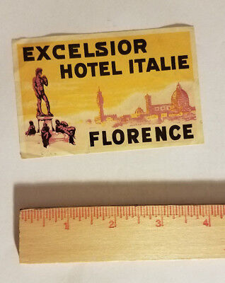 Excelsior Hotel Florence Italy luggage tag suitcase sticker antique vintage