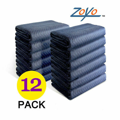 """12 Moving Packing Blankets 80"""" x 72"""" (45 lb/dz) Quilted Shipping Furniture Pads"""