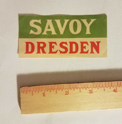 Savoy Hotel Dresden Germany luggage tag suitcase sticker antique vintage travel
