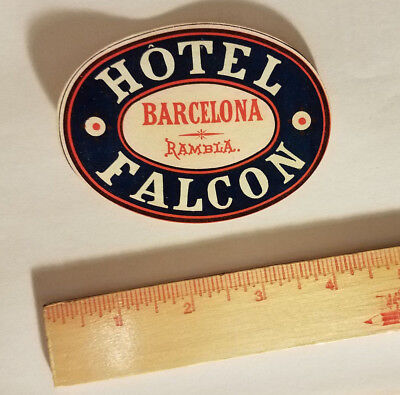 Hotel Falcoln Barcelona Spain luggage tag suitcase sticker antique vintage