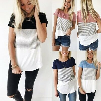 AU Womens Striped Short Sleeve Crew Neck T-Shirt Summer Casual Loose Tops Blouse