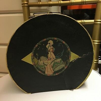 Antique Cardboard Ladies 1930's Hat Box with lady shopping picture & handle