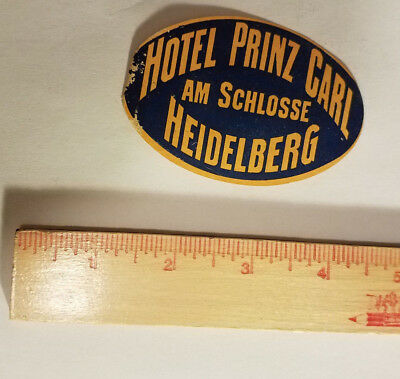 Hotel Prinz Carl Schlosse Germany luggage tag suitcase sticker antique vintage