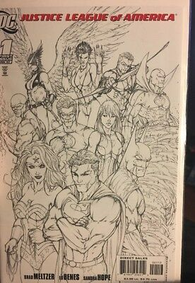 Justice League Of America #1 (2007) Michael Turner B & W SKETCH variant! - WOW