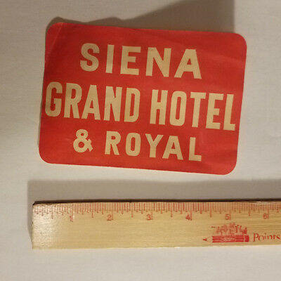 Siena Grand Hotel & Royal Italy luggage tag suitcase sticker antique vintage