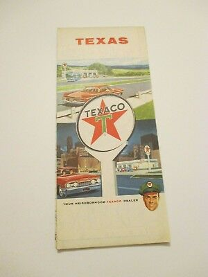 Vintage 1962 TEXACO Texas State Oil Gas Service Station Road Map
