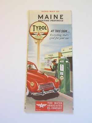 Vintage 1940 Tydol Flying A Maine Maritime Provinces Gas Station Travel Road Map