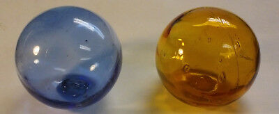 2 vINTAGE Authentic Japanese Glass Fishing Floats light blue & amber