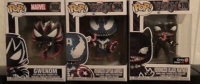 Venom Funko Pop Lot: Black Panther, Captain America, Gwenom