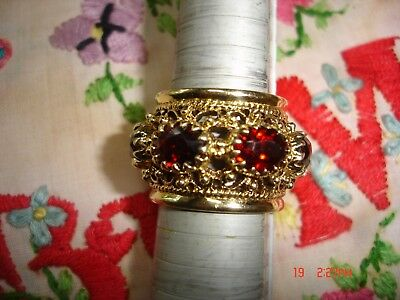 Vintage Heavy 14K Solid Gold Wide Band Has (7)1.5 Carat Each Real Garnet Sz 91/4