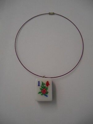 "Handcrafted~Lot of 1) Mah Jongg Tile Pendant w/Matching 18"" Coated Wire Necklace"
