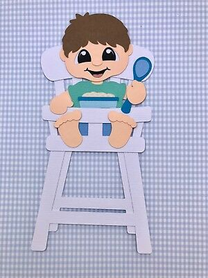 'My First Foods' Baby boy in high chair fully assembled paper piecing / die cut
