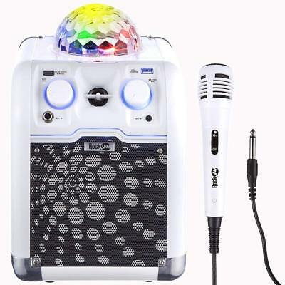 RockJam RockCube Portable Karaoke Machine Bluetooth Aux White Disco Light - New