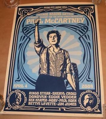 Artist Shepard Fairey Limited Edition Autographed Poster Paul McCartney & Ringo