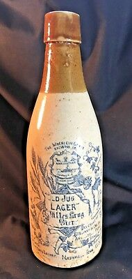 """Antique 9"""" Old Jug Lager Pottery Bottle- Classic 19th c."""